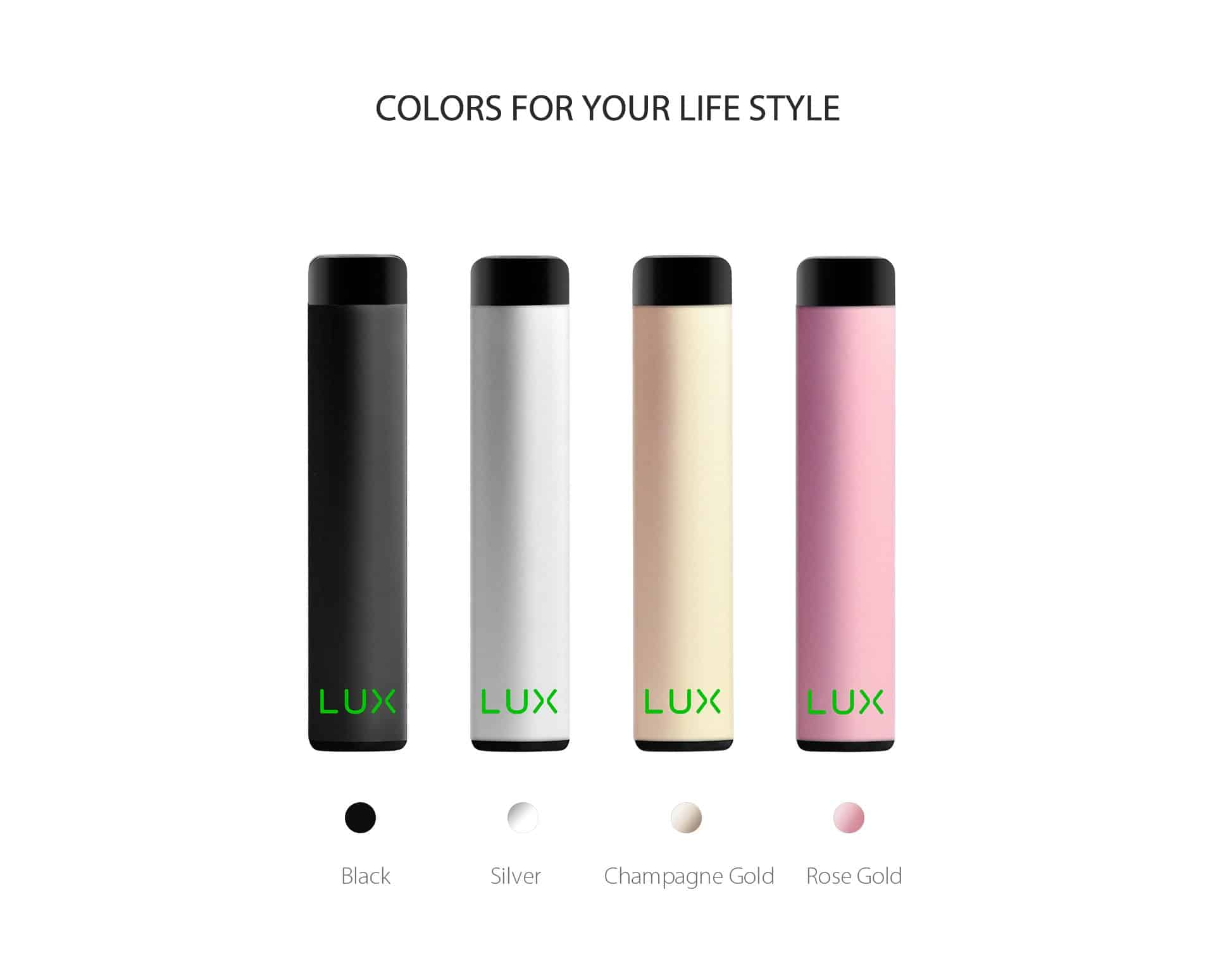 Wellon LUX Pod is a refillable pod vape gear, four colors for your stylish life, including black, silver, champagne gold, and rose gold Wellon LUX Pod versions.